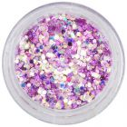 Rózsaszín-lila konfettik csillámporban, 1mm - holografikus hatszögek