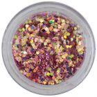 1mm konfettik - hatszögek mályvarózsaszín porban