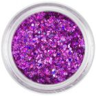 Holografikus nail art hatszög porban - rózsaszínes lila, 1mm