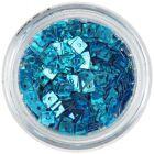 Hologrammos lyukas konfettik - türkizkék négyzetek