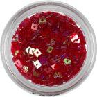 Piros négyzet - áttetsző, lyukas nail art dísz
