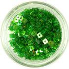 Áttetsző lyukas konfettik - kis zöld négyzetek