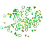 Flitter - zöld színű lyukas virágok - hologrammos