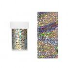 Körömdíszítő fólia - ezüst, holografikus különböző mintákkal