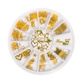 Fém körömdíszítő készlet – különböző formák – arany