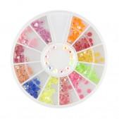 Nail art ozdoby – kamienky 3mm - rôzne farby s AB efektom