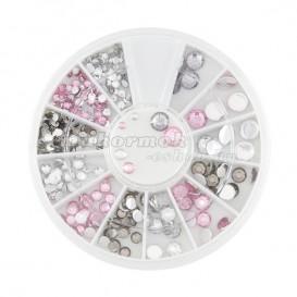 Nail art körömdíszítő kövek, ezüst és rózsaszín színben, mix