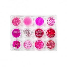 Körömdíszítő szett 12db - rózsaszín színben