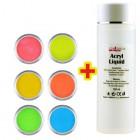 Neon Color készlet 6db + Acryl Liquid 100ml INGYEN