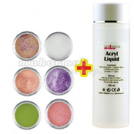 Glitter Color II. szett 6db + Acryl Liquid 100ml INGYEN