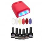 Próba készlet - UV lakkzselé 6x15ml + 4 cs. piros lámpa 36W