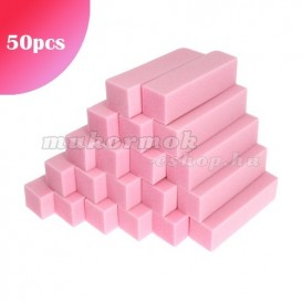 50db - Körömpolírozó tömb - rózsaszín, 80/80 - 4-oldalú