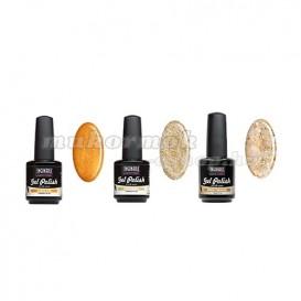 UV gél lakk szett, 3db - Gold Glitter