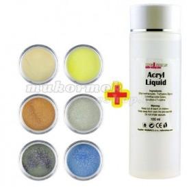 Glitter Color I. szett 6db + Acryl Liquid 100ml INGYEN