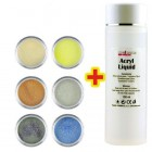 Glitter Color I. szett 6db + Acryl Liquid 100ml INGYEN