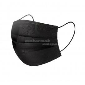 Szájmaszk gumival – fekete, 3-rétegű