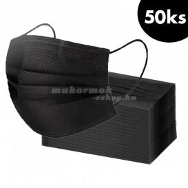 50 db, Szájmaszk gumival – fekete, 3-rétegű