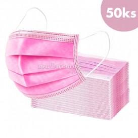 50 db, Szájmaszk gumival – rózsaszín, 3-rétegű