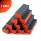 10db - 3-oldalú narancssárga-fekete körömpolírozó tömb 100/100