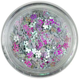 Dekorációs virág - gyöngyház fehér
