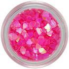 Körömdísz, áttetsző - rózsaszín szívecskék