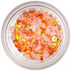 Dekorációs plasztik-textil konfetti - narancssárga szívecskék