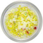 Plasztik-textil körömdíszek - sárga szívecskék