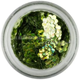 Nail art virág - olivazöld, hologramm