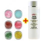 Shimmer Color szett 6db + Acryl Liquid 100ml INGYEN