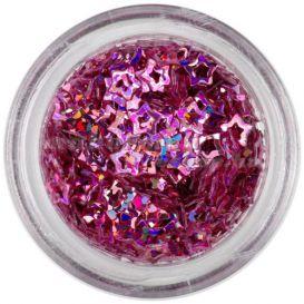 Dekorációs konfetti - mályvarózsaszín csillagok