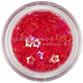 Dekorációs konfetti - piros csillagok