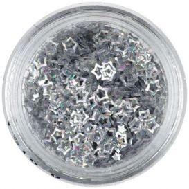 Flitter - ezüstszínű csillagok, hologramm