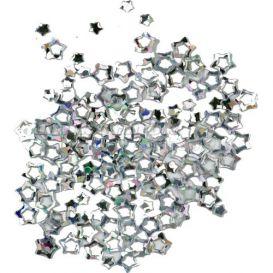Ezüstszínű nail art csillagok, hologramm
