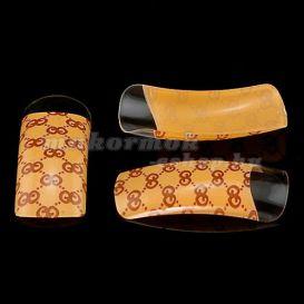 Egyszer használatos körmök, 70db - karamell szín, GUCCI