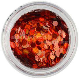 Narancssárgás piros hatszögek - holografikus