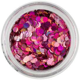 Díszítő hatszögek - holografikus, rózsaszín
