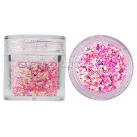 Hatszög csillámporban, 1mm - baby pink, 10g