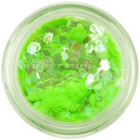 Neon green konfettik - hatszögek, aquaelements