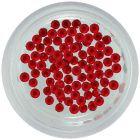 Piros körömdíszek, 1,5mm - gömbölyű kövek