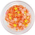 Narancssárga opál körömdíszek - textil csillagok