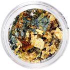 Zöldes arany körömdíszek - fólia szeletkék