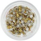 Aranyszínű körömdísz - kis textil virágocskák