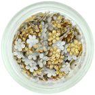 Textil virágocskák körömdíszítésre - aranyszínű