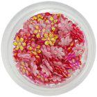 Gyöngyházfényes, piros körömdísz - textil virágocskák