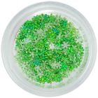Textil virágocskák körömdíszítésre - zöld, kicsi