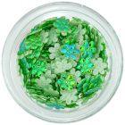 Textil virágok – zöld, gyöngyházfényes