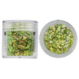 Hatszög csillámporban, 1mm - olivazöld, 10g