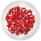 Körömdíszek - piros kövek, téglalapok/strasszkő