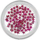 Körömdíszek - sötét rózsaszín kövek, csillagocskák