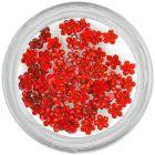 Piros kövecskék, virágocskák/strasszkő